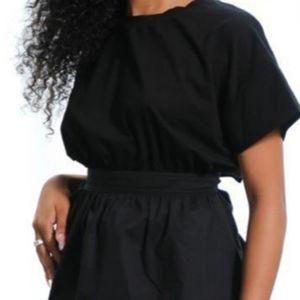 None Tops - Black Cotton Tie Back Slit Blouse